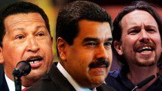Pablo Iglesias, Hugo Chávez y Nicolás Maduro.