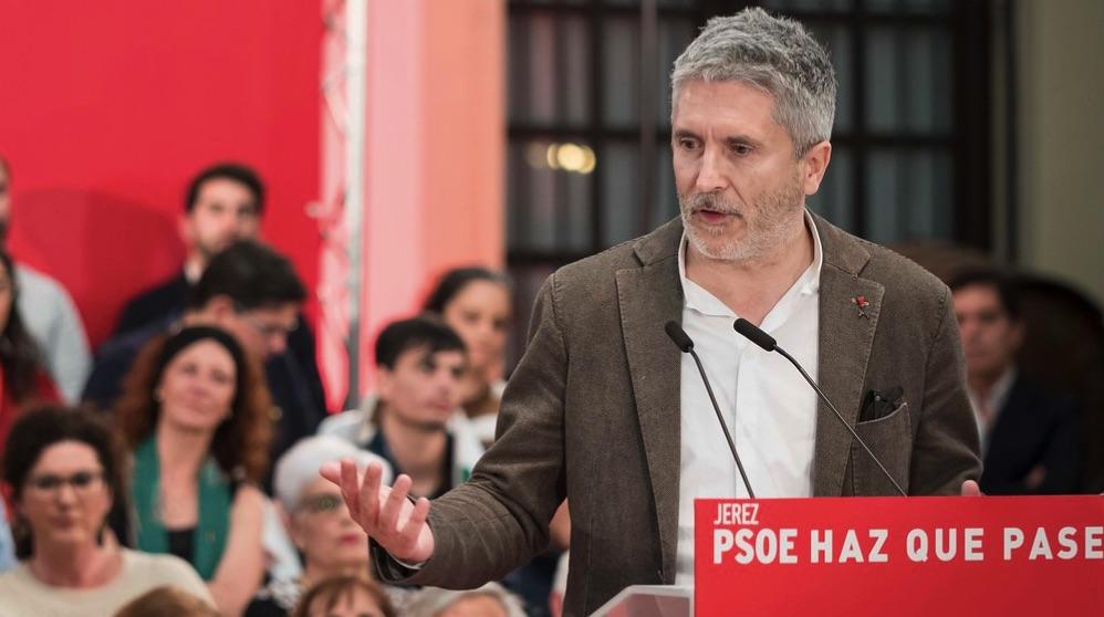 El ministro del Interior, Fernando Grande-Marlaska, en un acto del Partido Socialista. (Foto: PSOE)