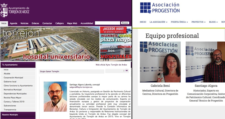Perfil de Algora en las webs del Ayuntamiento y de la asociación Progestión.