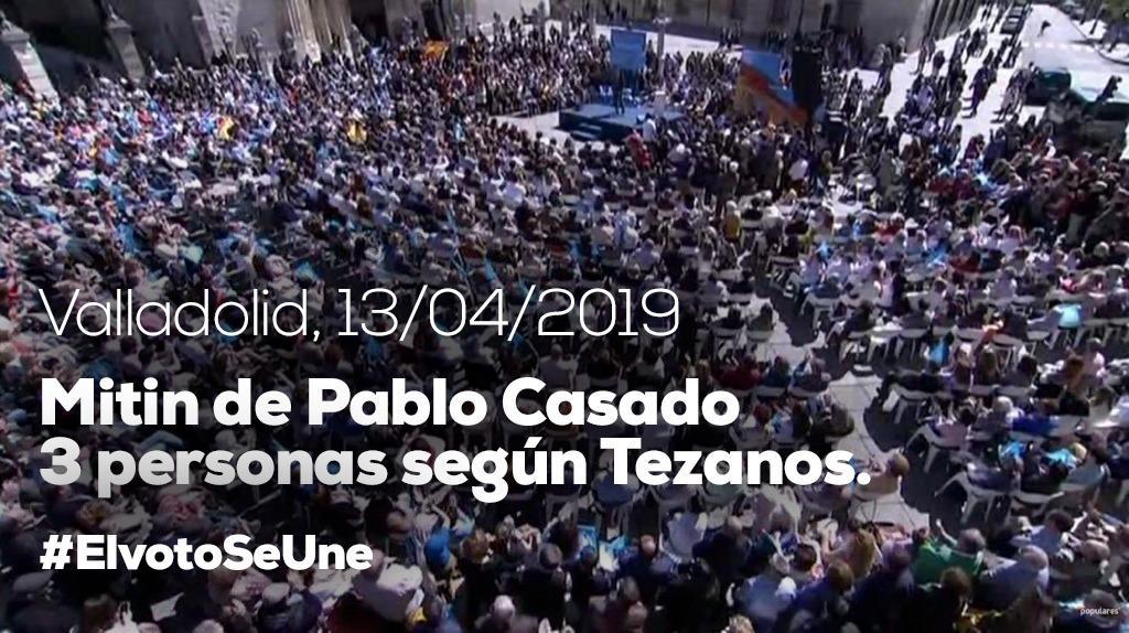 El llenazo de Casado en Valladolid provoca que las redes se burlen de las encuestas de Tezanos