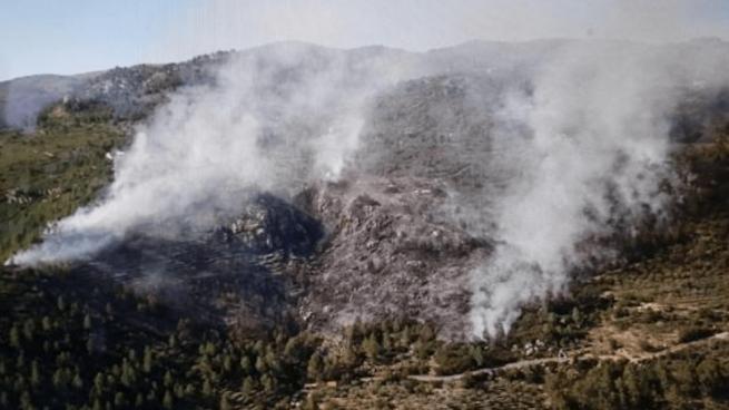 Fuerte despliegue aéreo en un incendio forestal con temperaturas de 30 grados en Alicante