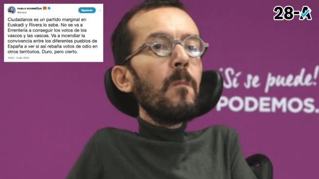 "Echenique acusa a Rivera de ir a Rentería a ""incendiar la convivencia"" y a ""rebañar votos de odio"""