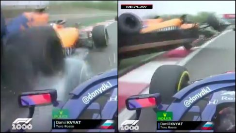 Kvyat embistió a Sainz y Norris en China.