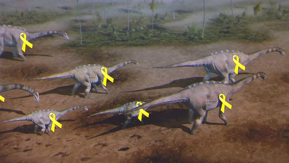 Uno de los memes colgados en las redes sociales sobre el «dinosaurio catalán»