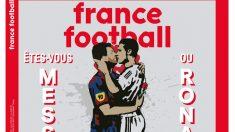 El beso entre Cristiano Ronaldo y Messi, en la portada de France Football.