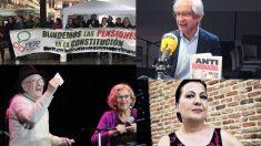 Los cuatro nombres propuestos, la mesa de las pensiones, El Roto, Juan Tamariz y Carmen Linares.