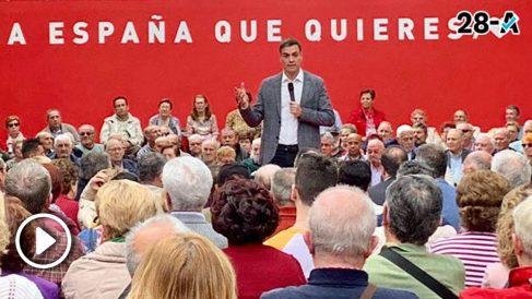 Pedro Sánchez en un acto con mayores en Leganés