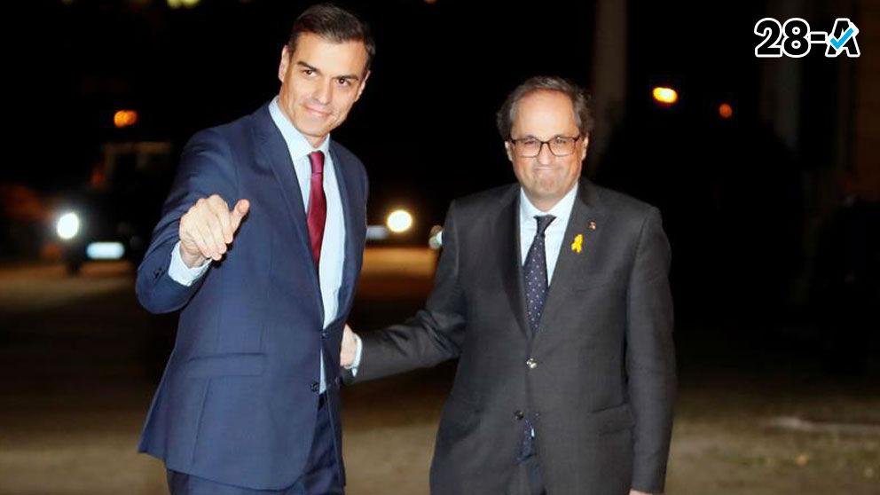 Pedro Sánchez y Quim Torra.