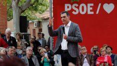 Pedro Sánchez, en un acto de campaña, este lunes.