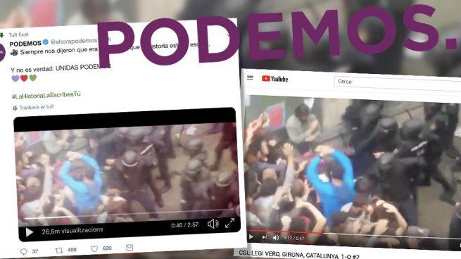Podemos manipula su anuncio electoral usando imágenes del 1-O como si fueran de otra manifestación