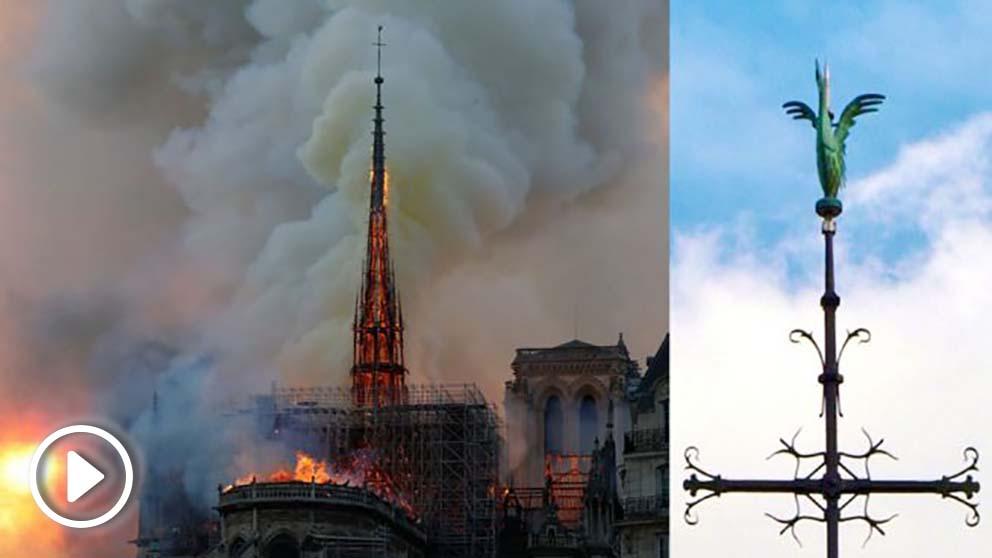 El gallo que coronaba la aguja derrumbada de la catedral de Notre Dame de París. Foto: AFP