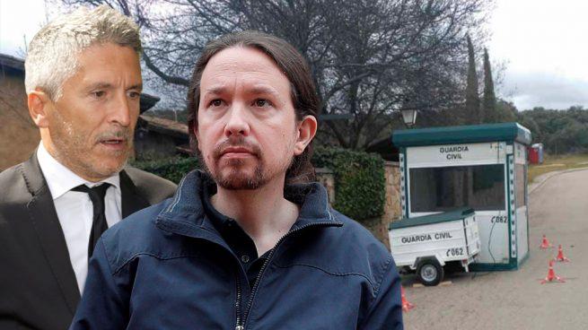 El ministro Grande-Marlaska, Pablo Iglesias y la garita de la Guardia Civil protegiendo la casa del líder de Podemos.