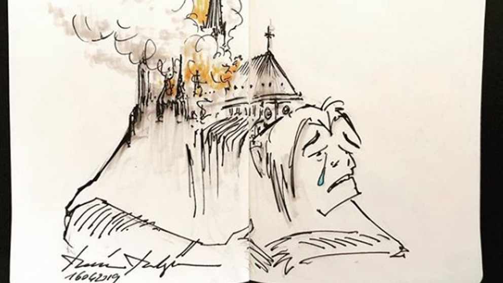 Una de las ilustraciones de Quasimodo, el jorobado de Notre Dame de Disney, llorando por el incendio de la catedral francesa.