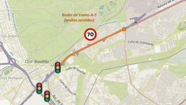 Madrid comienza a multar desde este martes por exceso de velocidad en un tramo con radar en la A-5
