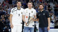 Felipe Reyes y Sergio Llull recibieron a Doncic.