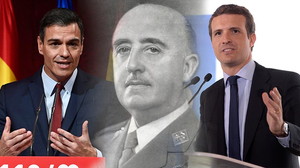 Pedro Sánchez, Francisco Franco y Pablo Casado.