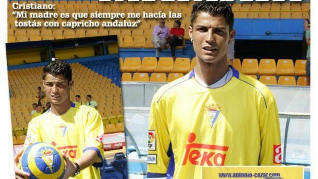 Montaje en Twitter de Cristiano Ronaldo con la camiseta del Cádiz