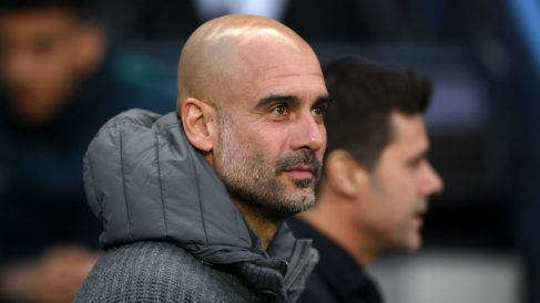 Guardiola, durante el Manchester City – Tottenham (Getty).