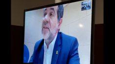 Jordi Sànchez en rueda de prensa desde la cárcel.