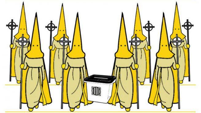 Ridículo separatista: montan una 'procesión amarilla' de Viernes Santo con urna en vez de Cristo