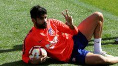 Diego Costa, durante un entrenamiento con el Atlético de Madrid. (EFE)
