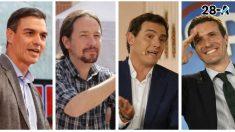 Los cuatro candidatos a la Presidencia del Gobierno el 28-A que participarán en los dos debates electorales. (Foto: EP)