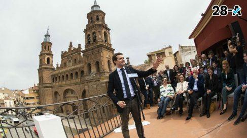Pablo Casado en un acto de campaña. Foto. EP.