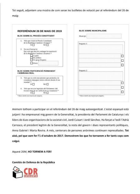 Los CDR convocan un nuevo referéndum independentista en el que votarán menores para el 26 de mayo