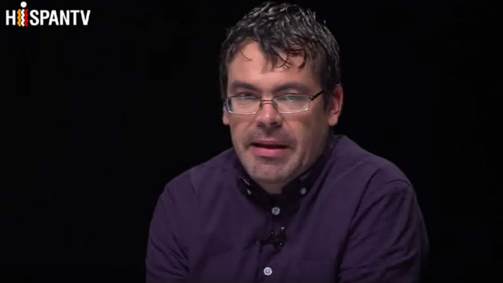 Pedro Honrubia, en un momento de la tertulia de Iglesias en el canal iraní HispanTV. (Foto: HispanTV vía Youtube)
