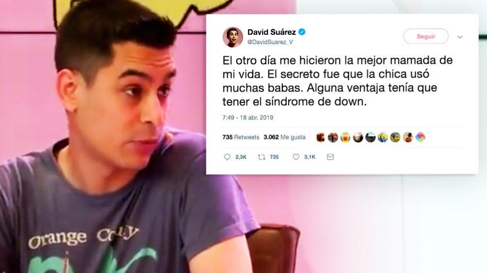 El humorista David Suárez y su polémico tuit sobre las personas con síndrome de Down.