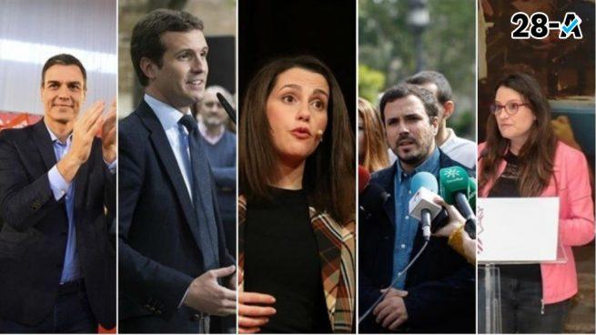 Sánchez, Casado, Arrimadas, Garzón y Oltra coinciden este sábado en Alicante para sus mítines