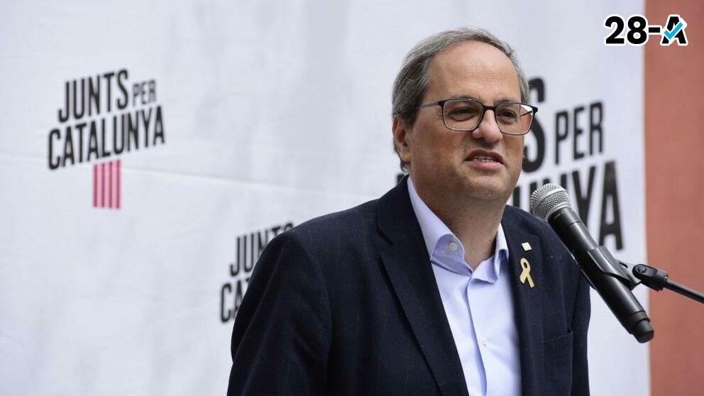 Quim Torra presidente de la Generalitat en un acto de JxCat. Foto. JxCat