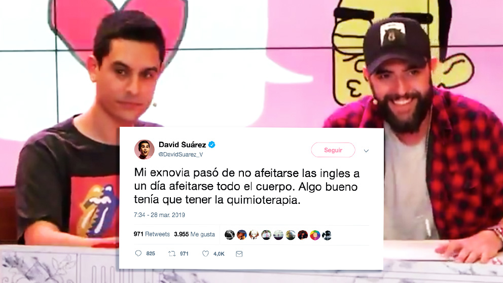 David Suárez (i), junto a Dani Mateo y su polémico tuit sobre quienes sufren cáncer.