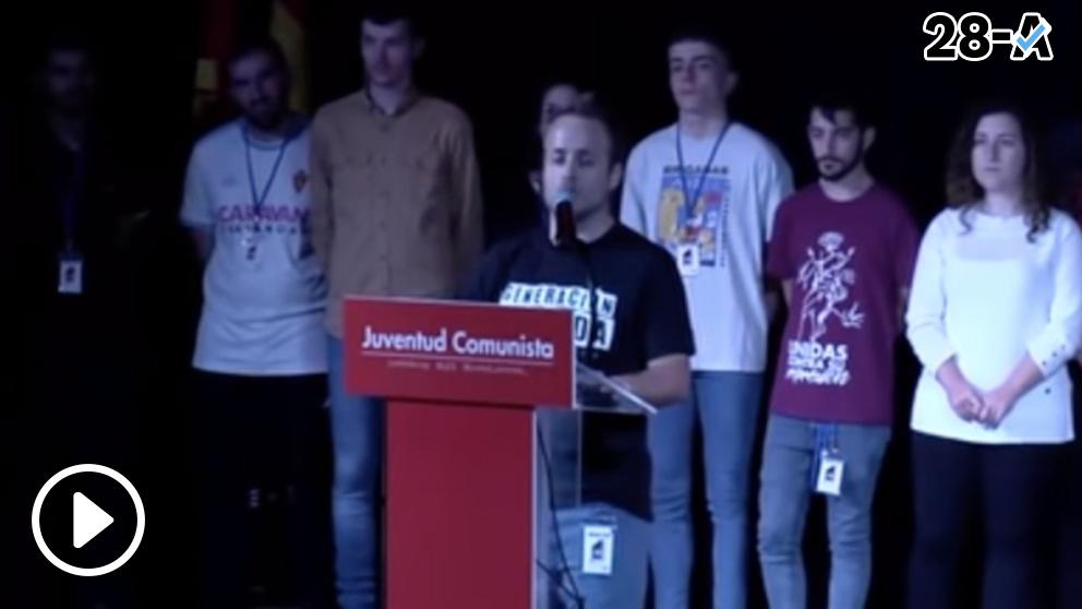El nuevo secretario general de las Juventudes Comunistas, Guillermo Úcar, este domingo. (Fuente: UJCE vía YouTube)