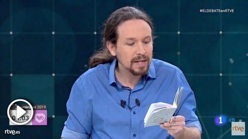 Pablo Iglesias en el debate de TVE.
