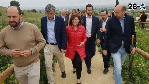 Carmen Calvo en campaña. Foto: Europa Press