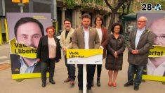El número dos de ERC a las elecciones generales, Gabriel Rufián, durante un acto electoral del partido republicano catalán. Foto: Europa Press