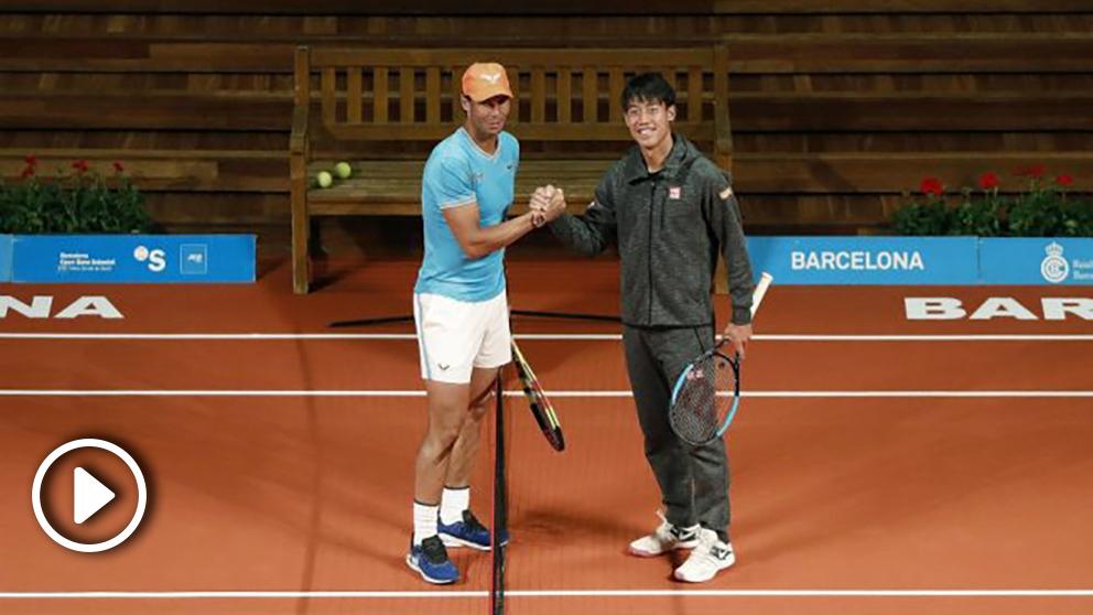 Nadal y Nishikori en el acto en Barcelona. (EFE)