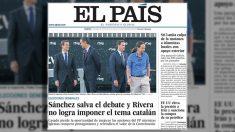 Portada de 'El País' sobre el debate a cuatro de TVE