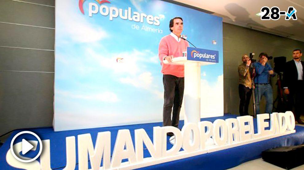 El ex presidente del Gobierno y presidente de la Fundación FAES, José María Aznar, en un acto electoral del PP. Foto: Europa Press