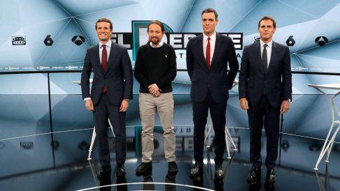 Pablo Casado, Pablo Iglesias, Pedro Sánchez y Albert Rivera en el debate de Atresmedia