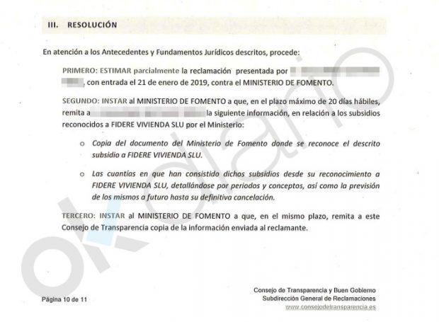 Transparencia obliga a Sánchez a informar en 20 días con cuánto ha subvencionado Fomento a fondos buitre
