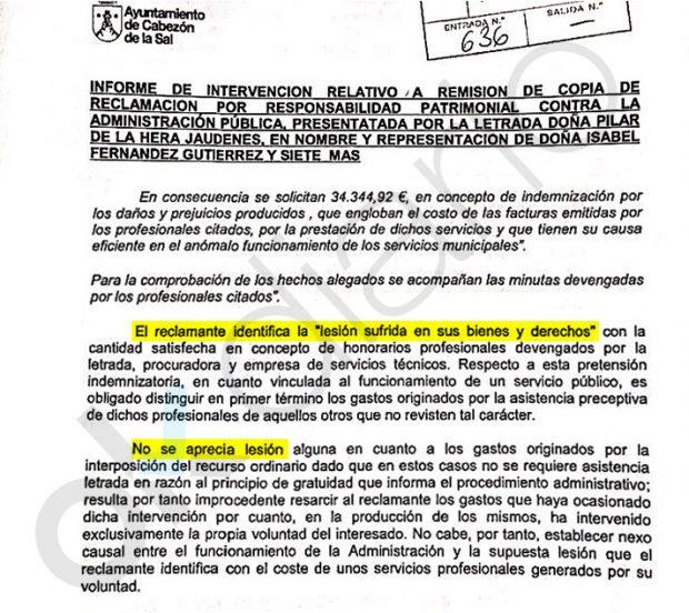 La interventora de Cabezón de la Sal se opuso al pago del gasto privado de la socialista Isabel Fernández