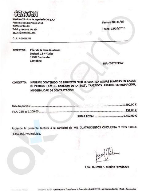 Una de las decenas de facturas que Cabezón de la Sal pagó a la abogada Pilar de la Hera Jaúdenes