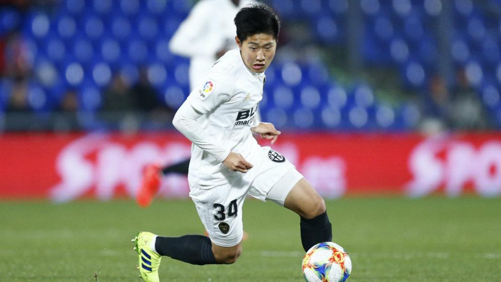 Kang In Lee con el Valencia (AFP)