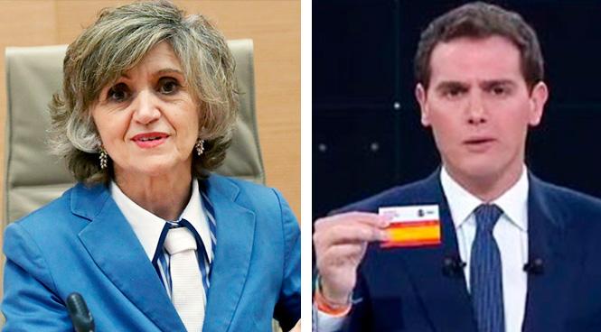 La ministra de Sanidad, María Luisa Carcedo, y el líder de Ciudadanos, Albert Rivera