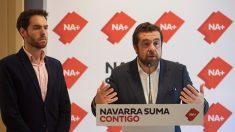 El cabeza de lista de Navarra Suma al Congreso, Sergio Sayas, y el diputado de Ciudadanos en el Congreso Miguel Gutiérrez. Foto: Europa Press
