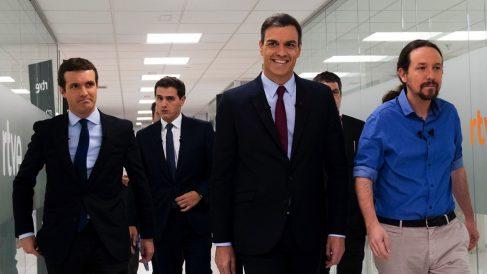 Pablo Casado, Albert Rivera, Pedro Sánchez y Pablo Iglesias. (Foto. PP)