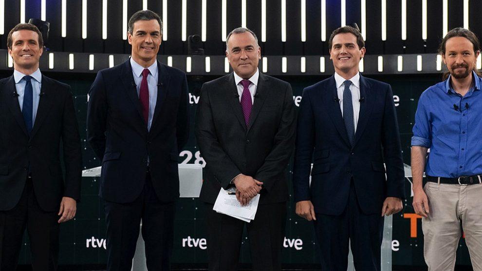 Pablo Casado, Pedro Sánchez, Albert Rivera y Pablo Iglesias en el debate electoral del 28-A en RTVE.
