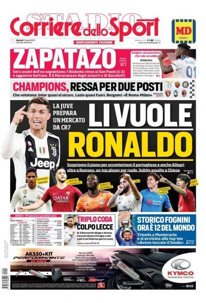 La portada del Corriere dello Sport.